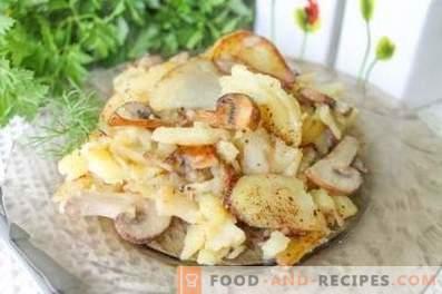 Come friggere le patate con i funghi in una padella