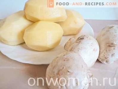 Patate fritte con funghi in padella