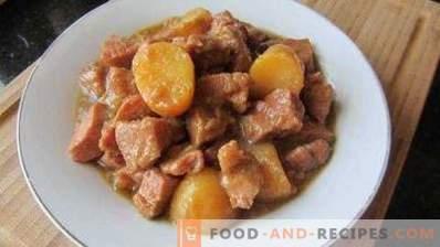 Картофи, задушени със свинско месо в тенджера