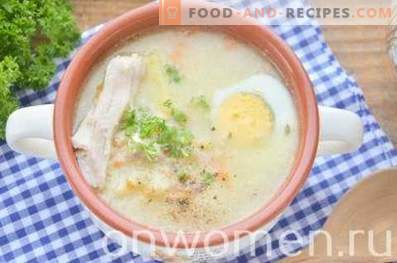 Soup with millet and egg in chicken broth
