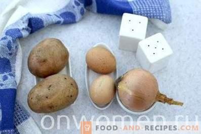 Patate fritte con cipolle, aglio e uova