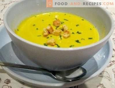 Zuppa di zucchine e purea di zucca