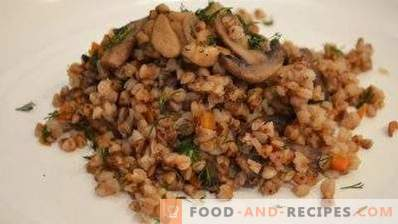 Grano saraceno con funghi, cipolle e carote
